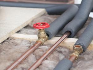 Pipes Wrapped in Insulation